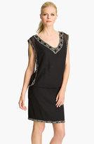 J Kara Women's Beaded Trim Chiffon Blouson Dress