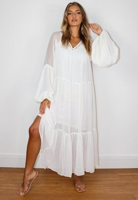 Missguided Cream Tiered V Neck Midaxi Smock Dress