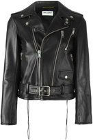 Saint Laurent classic motorcycle jacket - women - Cotton/Lamb Skin/Cupro - 36