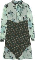 Anna Sui Camillia lace-trimmed printed silk-jacquard mini dress