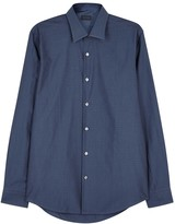 Pal Zileri Dark Blue Textured-jacquard Shirt