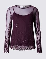 Marks and Spencer Embroidered Mesh Long Sleeve Jersey Top