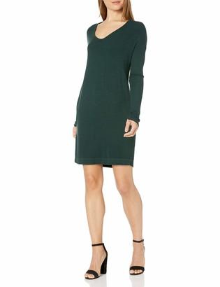 Michael Stars Women's 2x1 Rib Long Sleeve Soft V-Neck Dress with Pockets