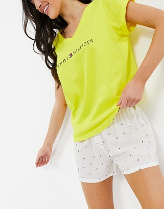 Tommy Hilfiger organic cotton logo t-shirt and short pajama set in neon yellow