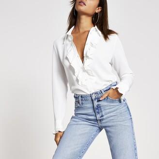 River Island Womens Cream frill front long sleeve shirt
