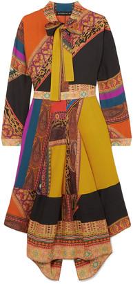 Etro Pussy-bow Asymmetric Patchwork Wool And Silk-blend Twill Midi Dress