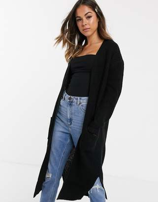 New Look maxi pocket cardi in black