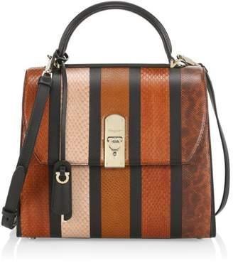 Salvatore Ferragamo Large Boxyz Leather-Trimmed Snakeskin Top Handle Bag