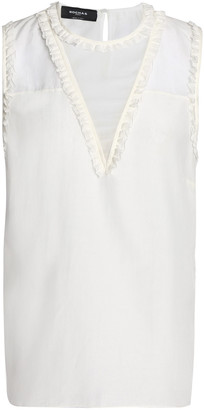 Rochas Ruffle-trimmed Cotton And Silk-blend Top
