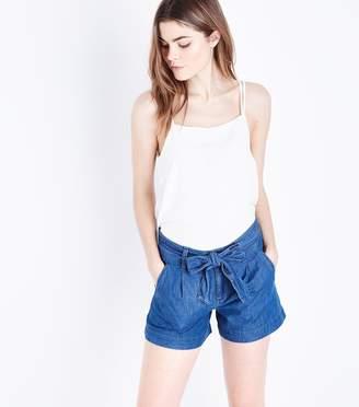 New Look Paperbag Lightweight Denim Shorts