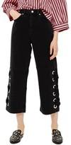 Topshop Women's Lace Up Hem Crop Wide Leg Jeans