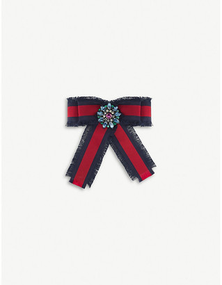 Gucci Bow grosgrain and crystals brooch