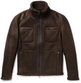 Loro Piana Leather-trimmed Nubuck Shearling Jacket - Chocolate