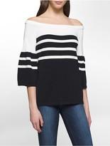 Calvin Klein Off-Shoulder Bell Sleeve Striped Sweater