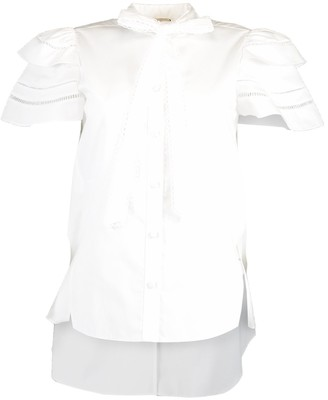 Adam Lippes Short Sleeve Embroidered Trim Trapeze Top
