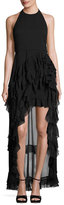 Alice + Olivia Carma Tiered High-Low Halter Gown, Black