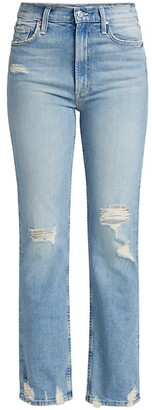 Mother High-Waisted Rider Slim Distressed Jeans