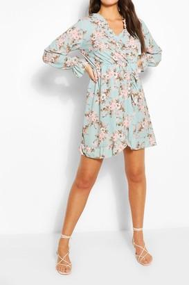 boohoo Paisely Ruffle Neckline Tea Dress