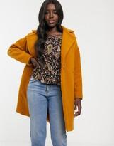 New Look wool overcoat jacket in mustard
