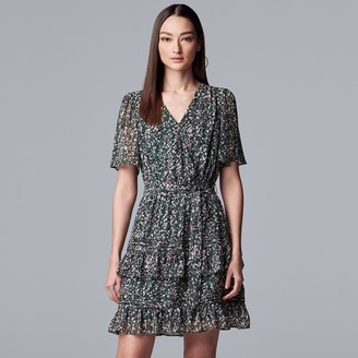 Vera Wang Women's Simply Vera Ruffle Wrap Dress