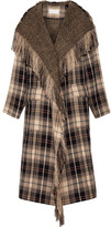 Chloé Fringed Plaid Wool And Cotton-blend Coat - Beige