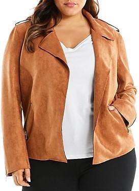 Estelle Plus Faux Suede Open-Front Jacket