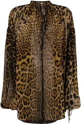 Saint Laurent Leopard Print Silk Blouse