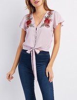 Charlotte Russe Floral Embroidered Button-Up Tied Top