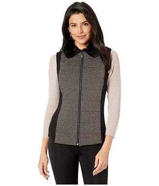 Jones New York Quilted Front Vest with Faux Fur Collar