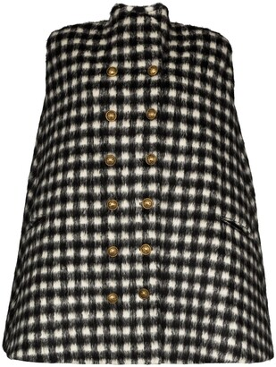 Balmain Gingham buttoned cape