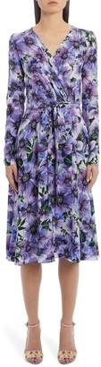 Dolce & Gabbana Floral Long Sleeve Silk Crepe Dress