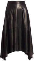 Brunello Cucinelli Leather Asymmetric-Hem Skirt