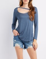 Charlotte Russe Destroyed Cut-Out Tee