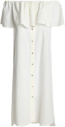 Iris & Ink Carmella Off-the-shoulder Ruffled Cotton And Linen-blend Dress