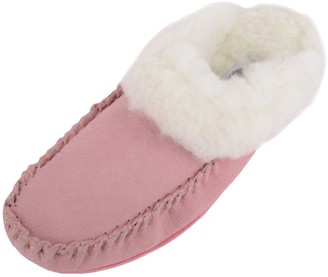 SNUGRUGS Womens Lambswool Suede Mule Slipper with Rubber Sole - Pink - 5 UK