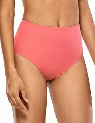 CRZ YOGA Women's Swimwear Bikini Bottom High Waist Swimsuit Briefs Solid Color Beachwear Lilac Stone 10