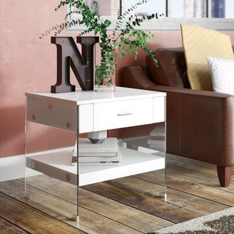 Trent Austin Designâ® Guero Contemporary End Table with Storage Trent Austin DesignA Color: White