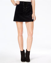 One Hart Juniors' Cotton Lace-Up Mini Skirt, Created for Macy's