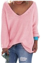 AuntTaylor Teens V Neck Long Sleeve Basic Soft Loose Knit Blouse Tops L