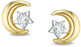 Zales Diamond Accent Crescent Moon and Star Stud Earrings in 10K Two-Tone Gold