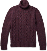 Etro - Cable-knit Mélange Wool And Cashmere-blend Rollneck Sweater