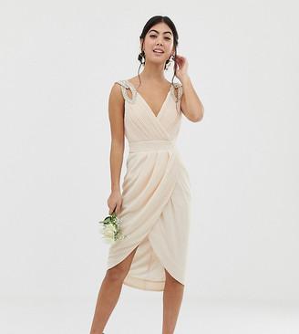 TFNC Petite wrap midi dress in pearl pink