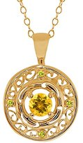 Gem Stone King 0.50 Ct Round Yellow Citrine and Canary Diamond 14k Yellow Gold Pendant