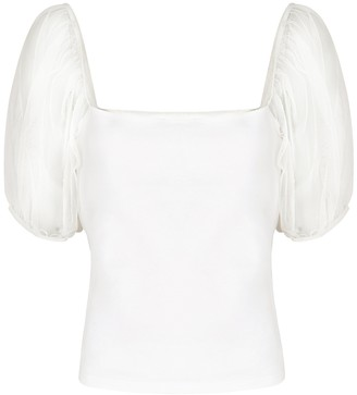 Free People Ivory Puff-sleeve Stretch-knit Top