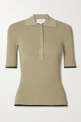 La Ligne Slinky Two-tone Ribbed-knit Polo Shirt - Sand