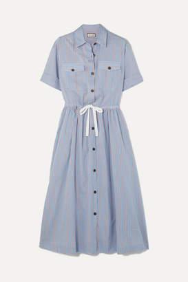 Paul & Joe Palazzo Striped Poplin Midi Dress - Blue