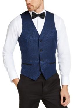 Alfani Men's Slim-Fit Blue Paisley Vest, Created for Macy's
