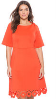 ELOQUII Plus Size Laser Cut Hem Fit and Flare Dress