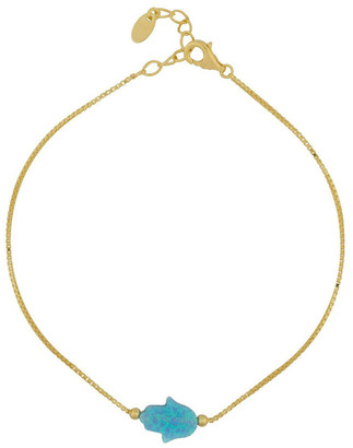 Mocha Sterling Silver Mini Hamsa Gold Fine Bracelet - Light Blue Lt