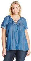 Lucky Brand Women's Plus Size Tencel Lace up Top